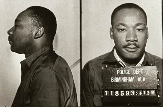 King was arrested in 1963 for protesting the treatment of blacks in Birmingham.